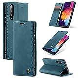 AKC Funda Compatible para Samsung Galaxy A50/A50s/A30s Carcasa con Flip Case Cover Cuero Magnético Plegable Carter Soporte Prueba de Golpes Caso-Azul