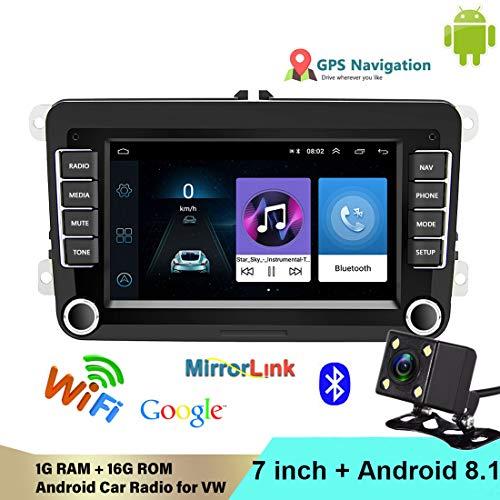 VIGORFLYRUN PARTS LTD 2 DIN Android Car Radio Reproductor Multimedia Bluetooth WiFi Enlace Espejo Espejo Navegación GPS FM para V/W/Golf/Polo/Jetta/Passat/Skoda/Octavia Cámara de visión Trasera