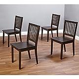 Simple Living Slat Espresso Rubberwood Dining Chairs (Set of 4)