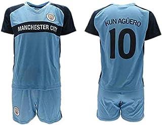 Conjunto Fútbol Sergio El Kun Aguero 10 Manchester City Azul Temporada 2018-2019 Replica Oficial con Licencia - Caja de Regalo Camisa + Pantalón Corto
