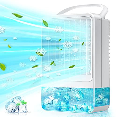 Raffreddatore D aria, EEIEER 4000mAh USB Climatizzatore Condizionatore d aria Portatile 4 IN 1 Evaporativo Umidificatore Purificatore Condizionatori Portatili,per Casa Camera da Letto Ufficio Esterno