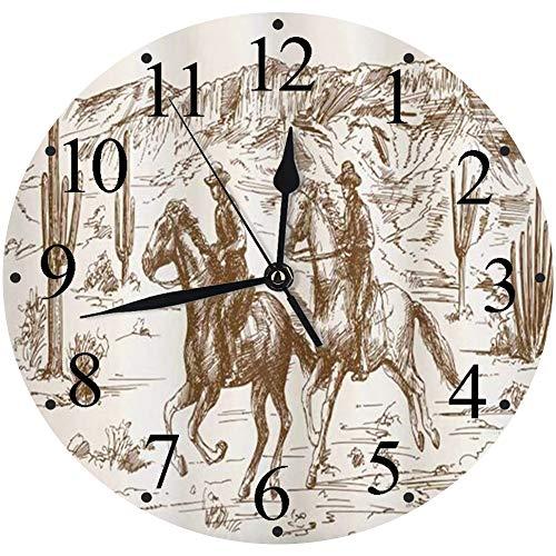 Silencioso Wall Clock Decoración de hogar de Reloj de Redondo,Ilustración dibujada a mano del tema del país occidental del desierto del salvaje oeste americano c,para Hogar, Sala de Estar, el Aula
