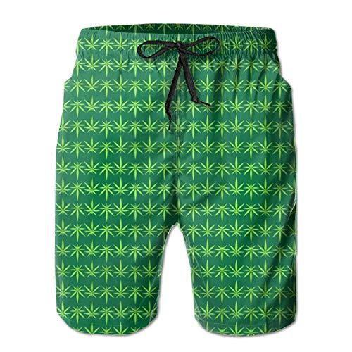 Hojas de Marihuana Verdes Bañador para Hombre Surf Tabla de Secado Rápido Shorts de Playa Cordón Cintura Elástica con Bolsillos