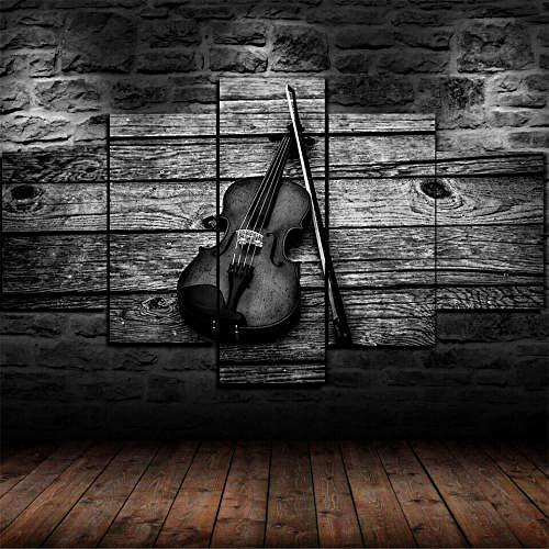 IMXBTQA Cuadro En Lienzo, Imagen Impresión, Pintura Decoración, Canvas De 5 Pieza, 150X80 Cm,Instrumento Musical De Arco De Violín Mural Moderno Decor Hogareña