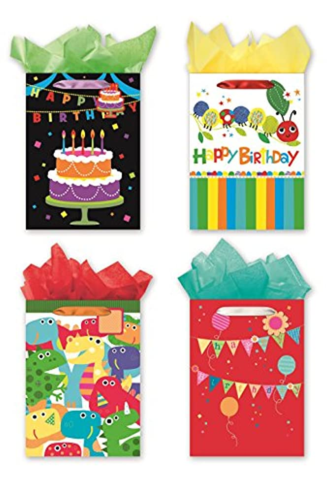 4 Jumbo Party Gift Bags, Birthday Gift Bags - Set of 4 Happy Birthday Gift Bags w/Tags & Tissue Paper