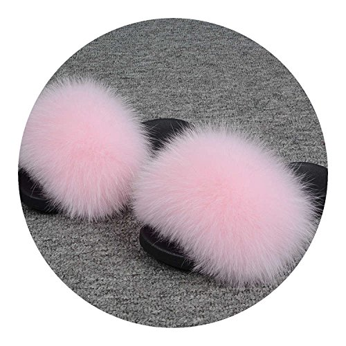 25 Colors Fox Fur Slides Hair Slippers Fur Sliders Beach Sandal Shoes for Indoor Outdoor,Baby Pink,10.5