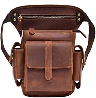 Mens Leather Bag Leather Men Crazy Horse Messenger Crossbody Shoulder Bags Travel Motorcycle Riding Fanny Pack Waist Belt Bags Thigh Drop Leg Bag Bag (Color : Brown, Size : S)