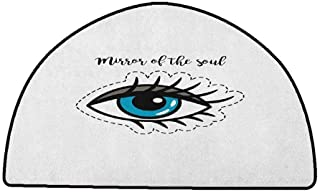 Bedroom Living Room Area Rug Eyelash,Blue Woman Eye Stitch Patch Style Graphic Design Famous Inspirational Quote, Grey Blue Black,W47 x L31 Half Round Best Floor mats