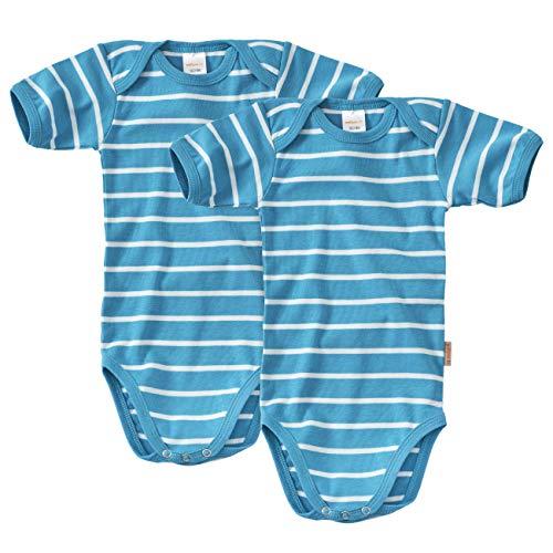 WELLYOU Doppelpack Baby Body - Kinder Body Kurzarm türkis-Weiss gestreift Größe 104-134