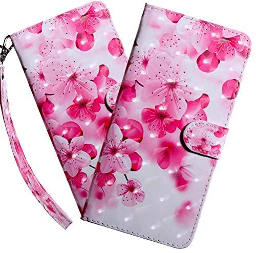 MEIKONST Kompatibel mit Google Pixel 3A Hülle, Pretty Pink 3D Bunt bemalt PU Leder Flip mit Kartenhalter Ständer Bookstyle Magnetic Cover für Google Pixel 3A, BX Pink Peach Blossom