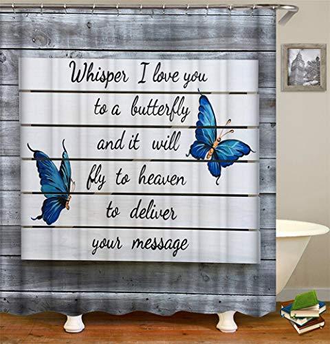 ZZZdz Grijze houten hek. Een liefdesbrief. Twee blauwe vlinders. Douchegordijn. Waterdicht. Eenvoudig te reinigen. 180 x 180 cm.