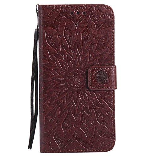 LAFCH Handyhülle für Galaxy S6 Edge Plus Hülle, Premium Mandala Geprägtes Muster PU Leder Flip Schutzhülle für Samsung Galaxy S6 Edge Plus, mit Karteneinschub, Braun