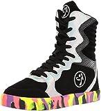 Zumba Chaussures de Marche avec des Chaussures de Sport de Danse de Mode pour Femme 5 M US Noir Argent