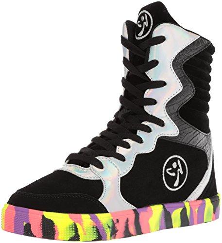 Zumba Aktiv Workout Street Elevate Sneakers Stilvoll Extrahohe Damen Sportschuhe, Black/Silver, 42 EU