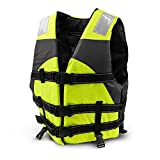 Crown Sporting Goods Multi-Sport Personal Flotation Device Life Vest with Hi-Visibility Reflective Panels and Threading (Safety Green)