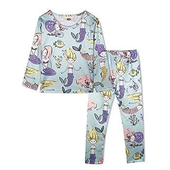 ModaIOO Girls Unicorn Dinosaur Mermaid Pajamas Kids 2Piece Long Sleeve Sleepwear Set