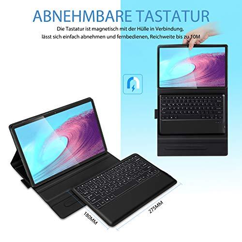 Jelly Comb Beleuchtete Tastatur Hülle für Samsung Galaxy Tab S7+, Abnehmbare Bluetooth QWERTZ Tastatur mit Schützhülle für Samsung Tablet S7 Plus 2020 12,4 Zoll 2020 (SM-T970/T975/T976),Schwarz