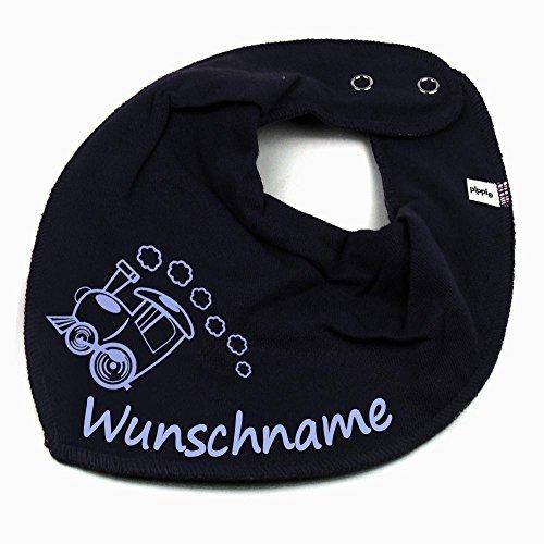 Elefantasie Elefantasie HALSTUCH Lokomotive Zug mit Namen oder Text personalisiert dunkelblau für Baby oder Kind