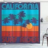 ABAKUHAUS Decir Beach Cortina de Baño, Surf Rider California, Material Resistente al Agua Durable Estampa Digital, 175 x 240 cm, Multicolor