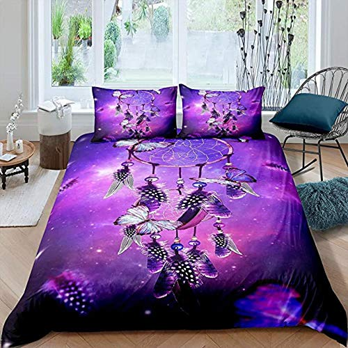 HUA JIE Galaxy Dream Catcher Bedding Set Feathers Pattern Duvet Cover Set Tribal Ethnic Decorative 2 Piece Bedding Set
