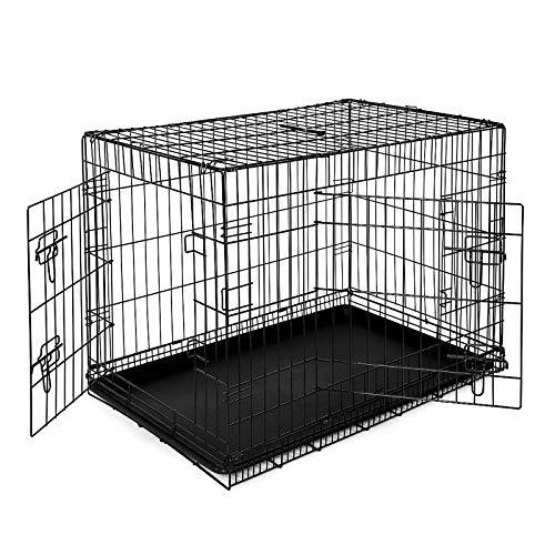 lionto by dibea Cage de transport pour chien pliable avec 2 portes (XL) 92x58x64 cm