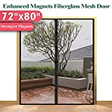 Mkicesky [Upgrade Version] Fiberglass Magnetic Screen Door, Double Patio Mesh Cover for French/Sliding Full Frame Hook&Loop Fit Door Up to 70'x 79' Max-Newest 9.84' Magnet, Black