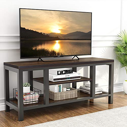 LITTLE TREE TV Stand, 59 Inches Industrial Rustic Media Stand for 60' TV, Large 3-Tier...
