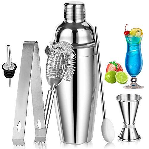 Cocktail Shaker Set, SANBLOGAN 750ML Cocktailshaker Set Profi Cocktailmixer mit Muddler, Messbecher, Barlöffel, Eiszange, Flaschengießer Cocktail Bar Zubehör - Geschenke für Männer, Freund oder Vater