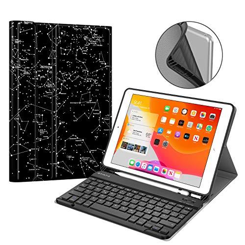 Fintie Tastatur Hülle für iPad 10.2 Zoll 7. Generation 2019, Soft TPU Rückseite Gehäuse Schutzhülle mit Pencil Halter, magnetisch Abnehmbarer Bluetooth Tastatur mit QWERTZ Layout, Sternbild