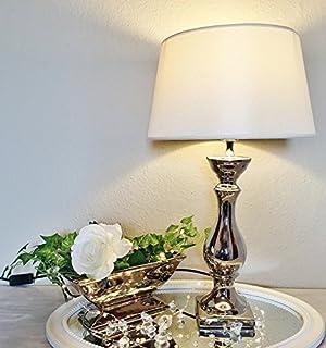 Lovely 46 cm-pied de lampe de chevet céramique argent avec abat-jour blanc