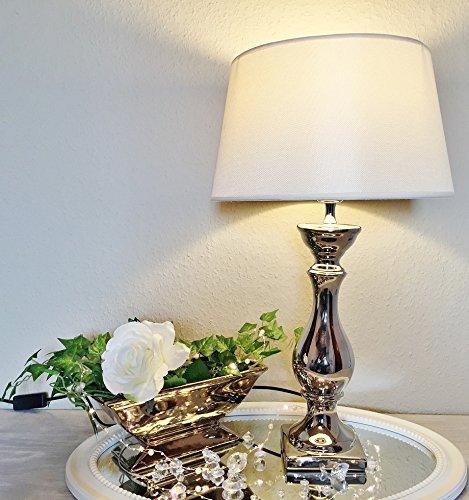 Keramik Lampen Lampenfuß Lampenschirm Tischlampe Nachttischlampe Tischleuchte (LOVELY 60 cm (Fuß: Silber - Schirm: Weiß))