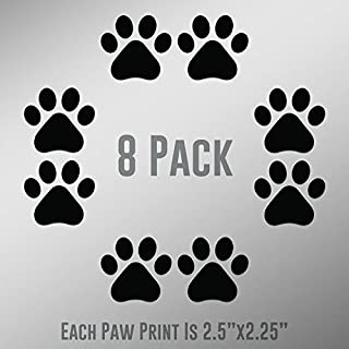 DD894 Dog Paw Prints 8-Pack | Each paw 2.5-Inches By 2.25-Inches | Premium Quality Black Vinyl