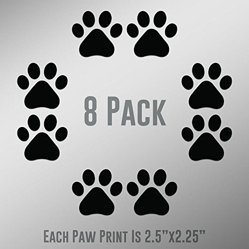 CMI DD894 Dog Paw Prints 8-Pack | Each paw 2.5-Inches by 2.25-Inches | Premium Quality Black Vinyl