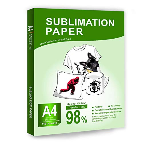 BetterSub Sublimation Paper Heat Transfer Paper 110 Sheets A4 Size for EPSON HP CANON Inkjet Printer with Sublimation Ink in Light Color Shirts Hat Cap Mug Cup