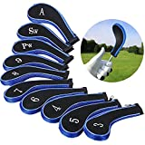 VVHOOY Golf Club Head Covers 10PCS Golf Clubs Iron Head Covers with Zipper Golf Head Covers Irons Protective Set Compatible for Titleist Callaway Ping Callaway Taylormade Cobra Nike