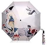 Paraguas de Sol Protección UV para Las Mujeres Creativo 3D Impreso Sombrilla Umbrella Triple Plegable Paraguas 190T Sombrillas 8 Huesos Damas Paraguas (Beige)