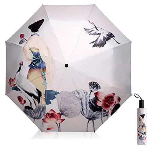 Maibar Sonnenschirme UV Schutz Regenschirm für Frauen kreativ 3D gedruckt Sonnenschirm Triple Folding Regenschirme 190T Sonnenschirme 8 Knochen Damen (Beige)