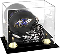 Baltimore Ravens Super Bowl XLVII Champions Golden Classic Mini Helmet Logo Display Case - NFL Mini Helmets
