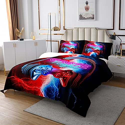 Juego de colcha para cama de matrimonio con 2 fundas de almohada, diseño de estrellas brillantes y espaciales, para niños y niñas, 3 unidades