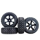 Hosim 1:10 Scale RC On Road Terrain Buggy Car Drift Replacement Tyres Pack of 4pcs High Performance Racing Car Rally Car Accessory Parts Grain Rubber Split Spoke Satin Tires and Wheels Black Color