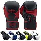 Elite Sports Boxing Gloves for Men and Women, Women and Men Kickboxing Gloves (Red 12 Oz)