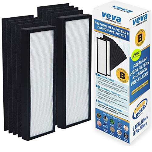 Veva Air Purifier Filter Pack - 2 HEPA, 8 Carbon Pre-Filters - Size Compatible with Model AC4300BPTCA, AC4900CA, AC4825, AC4850PT, AC4820, AP2200CA Purifiers & Replacement Filter B