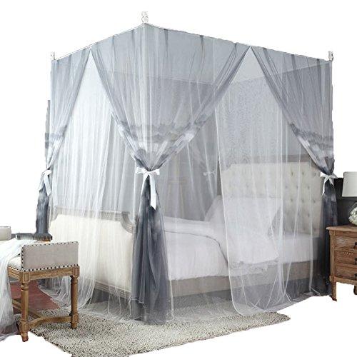 Filet Anti-Moustique Mosquito Net Bed Moustiquaire Mousseline À Moustiquaire Impression De Vent Naturel Cryptage Mountain Double Couche Tingting (Couleur : Gris, Taille : 2M)