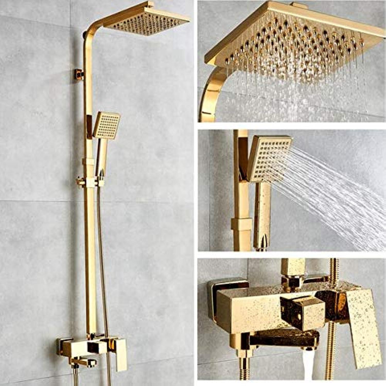 MICHEN Dusche Wasserhahn Thermostat Dusche Wasserhahn Set Gold Badezimmer Regendusche Set mit Mischbatterie Wandmontage Bad & Dusche Wasserhahn