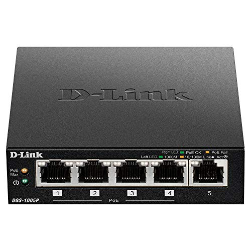 D-Link 5-Port Gigabit Unmanaged Desktop PoE Switch, 1 PoE Port, Metal Housing, Plug and Play, Fanless Design, Energy Saving Features, 802.3af, 15.4W PoE Budget, Ltd (DGS-1005P)