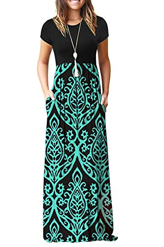 HAOMEILI Women's Short Sleeve Loose Plain Maxi Dresses Casual Long Dresses with Pockets(Blue Green, XL)