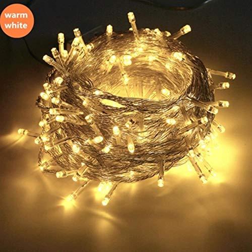 String licht 100LED 10M kerst/bruiloft/party decoratie lichten slinger AC 110V 220V buiten waterdichte LED-lamp 9 kleuren geleid, 50m 500LED 220V EU, warm wit