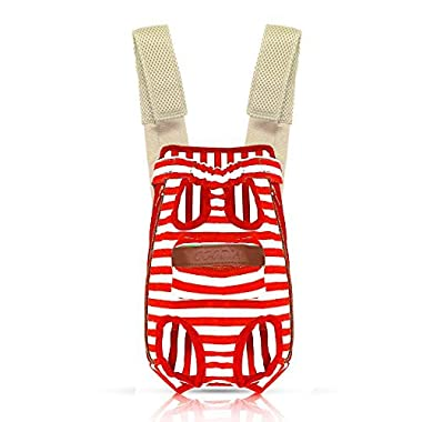 COODIA Legs Out Front Pet Dog Carrier Front Chest Backpack Pet Cat Puppy Tote Holder Bag Sling Outdoor (L, Red)