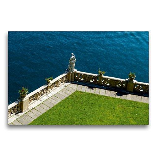 CALVENDO Premium Textil-Leinwand 75 x 50 cm Quer-Format Statue im Park der Villa Balbianello, Leinwanddruck von Gabi Hampe