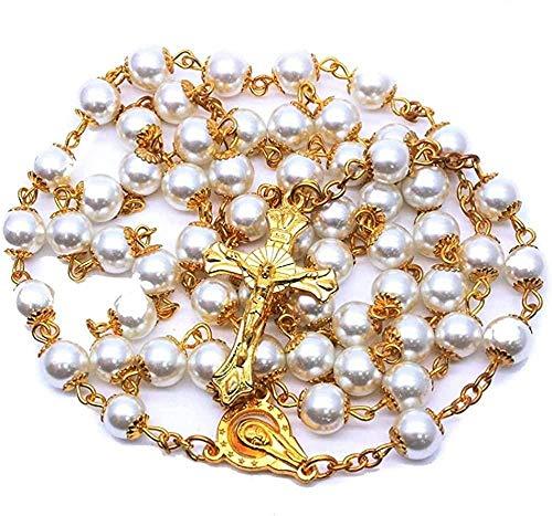 LKLFC Collar Mujer Collar Hombre 8 mm Collar de Rosario Blanco Perlas Redondas Rosario católico con Medalla de Piso Sagrado Oración Crucifijo Joyería Religiosa Collar con Colgante Niñas Niños Regalo